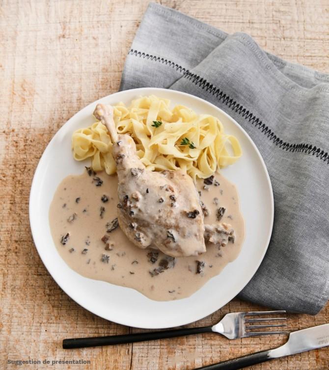 Cuisse de canard aux morilles avec tagliatelles - Le Petit Cuisinier