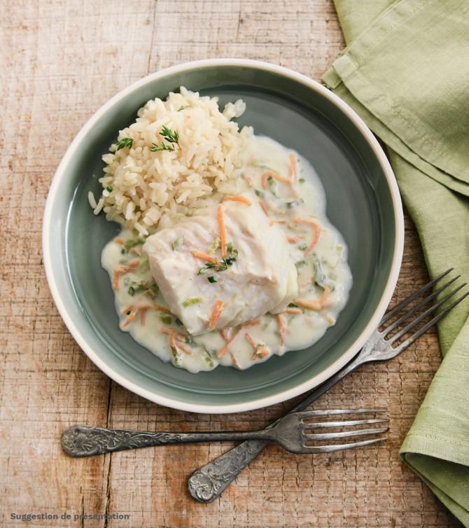 Cabillaud aux petits légumes avec riz pilaf - Le Petit Cuisinier