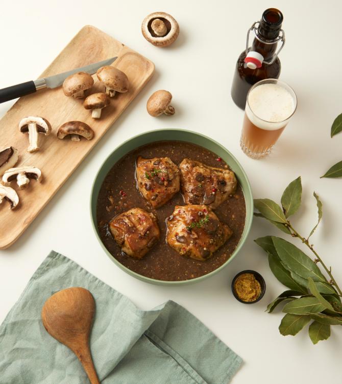 Lapin à la bière et à la moutarde. Râble de lapin et son jus cuisiné, 4 parts - Le Petit Cuisinier
