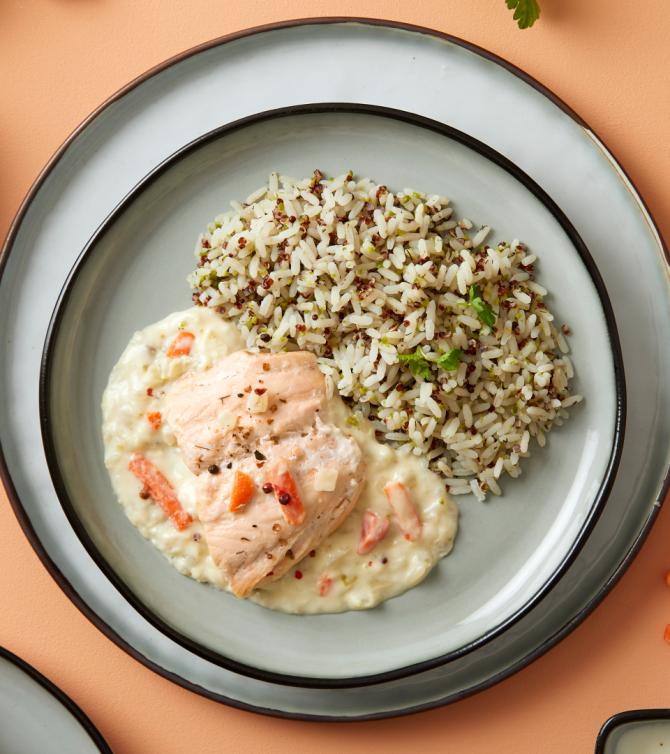 Saumon Noilly Prat®,  duo de riz et quinoa rouge à l'aneth - Le Petit Cuisinier