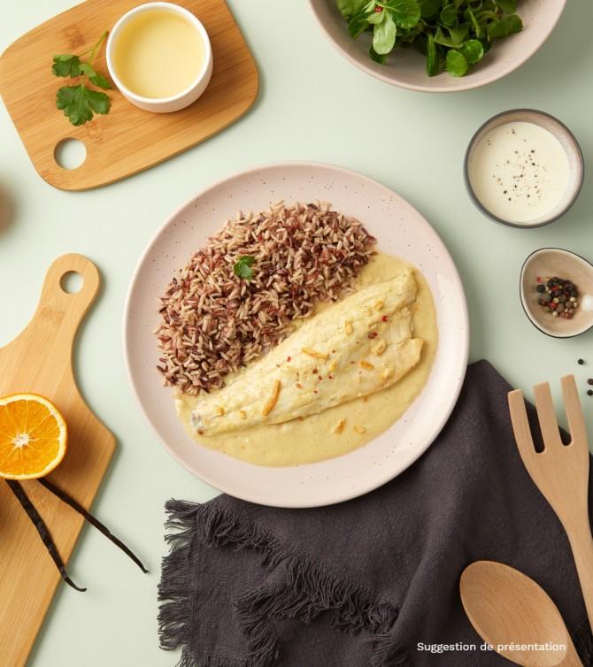 Filet de bar sauce orange vanille  avec riz- Le Petit Cuisinier