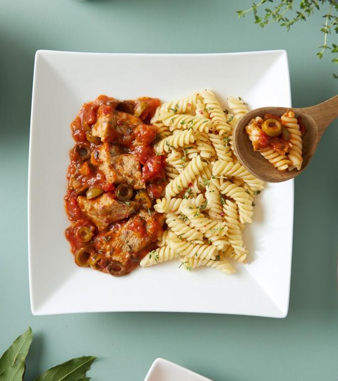 Sauté de veau aux olives et ses fusillis - Le Petit Cuisinier