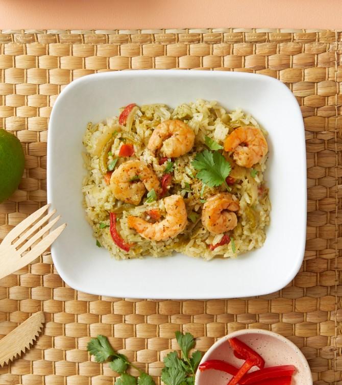Crevettes curry vert riz - Le Petit Cuisinier