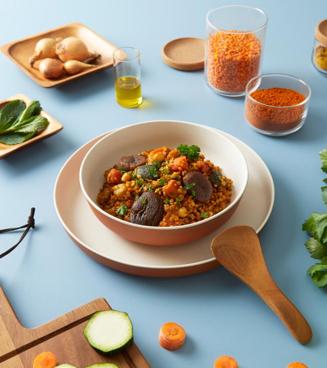 Tajine végétarien boulgour et lentilles aux figues et abricots - Le Petit Cuisinier