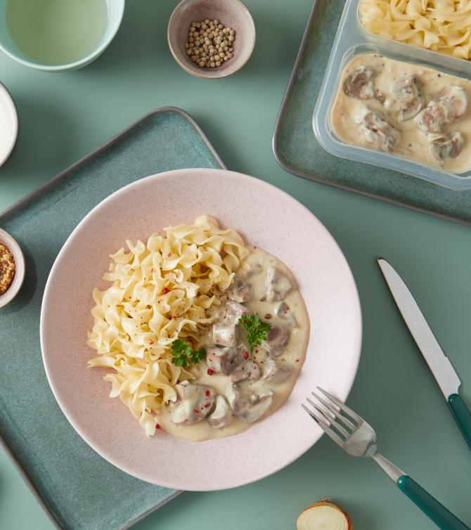 Rognons de porc aux deux moutardes et ses pâtes - Le Petit Cuisinier