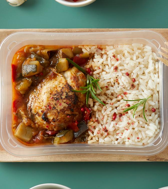 poulet grillé, riz et ratatouille - Le Petit Cuisinier