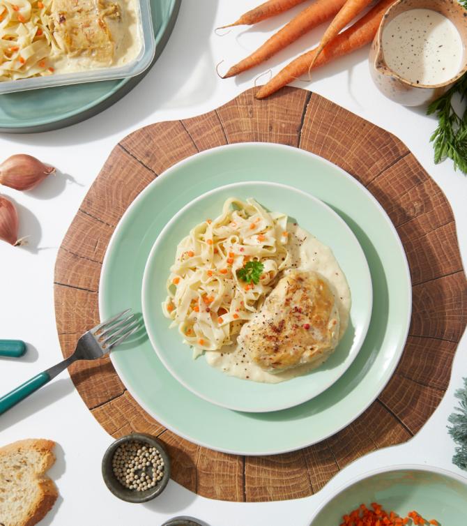 Lapin sauce moutarde et tagliatelles en assiette - Le Petit Cuisinier
